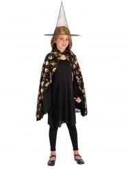 Kinder Hexen-Kostümset 2-teilig für Halloween schwarz-orange