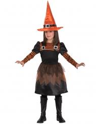 Klassisches Hexenkostüm für Mädchen schwarz-orange
