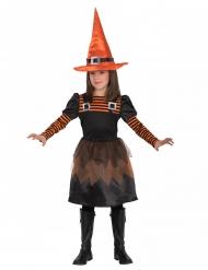 Klassisches Hexenkostüm für Mädchen Kinderkostüm Halloween schwarz-orange