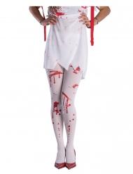 Blutverschmierte Strumpfhose für Damen Halloween-Accessoire weiss-rot
