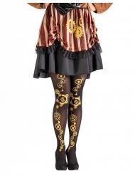 Viktorianische Steampunk-Strumpfhose für Damen schwarz-goldfarben