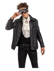 Exklusive Steampunk-Brille Accessoire für Erwachsene grau-schwarz