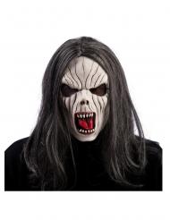 Vampirmaske mit Perücke Halloween-Zubehör für Erwachsene grau-weiss