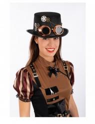 Stilvoller Steampunk-Zylinder Accessoire für Erwachsene schwarz-bronzefarben