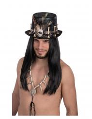 Stilvoller Voodoo-Zylinder Kopfschmuck für Erwachsene schwarz-braun