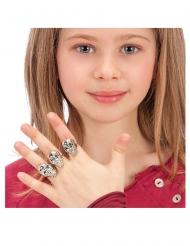 Totenkopf-Ringe Schmuck für Kinder Halloween-Accessoire 6 Stück silberfarben