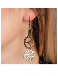 Viktorianische Steampunk-Ohrringe für Damen Accessoire bronzefarben