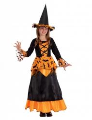 Fledermaus-Hexe Mädchenkostüm für Halloween schwarz-orange