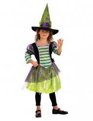 Spinnen-Hexe Mädchenkostüm für Halloween bunt