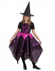 Düstere Spinnen-Hexe Halloween-Kostüm für Mädchen schwarz-pink