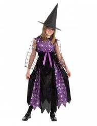 Verträumte Spinnen-Hexe Mädchenkostüm für Halloween schwarz-lila