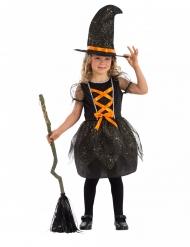 Mädchen-Hexenkostüm für Halloween schwarz-orange