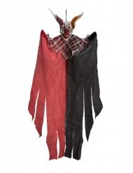 Schauriger Horrorclown-Dekofigur für Halloween Hängedeko schwarz-rot 60 cm