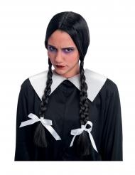 Gothic-Schülerin Perücke für Damen Halloween-Zubehör schwarz-weiss