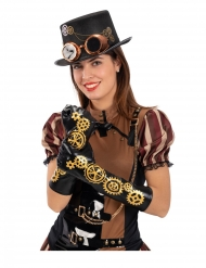 Steampunk Handschuhe Zahnrad für Erwachsene schwarz