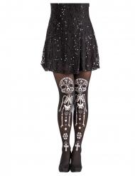 Tag der Toten-Strumpfhose Kostüm-Accessoire für Damen Halloween schwarz-weiss