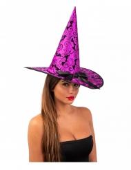 Hexenhut Kostüm-Accessoire für Damen Halloween und Karneval lila 36cm