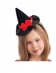 Miniatur-Hexenhut mit Haarband Halloween-Zubehör für Mädchen schwarz-rot 13cm