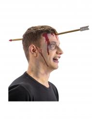 Pfeil im Kopf Halloween-Accessoire für Erwachsene braun-grau