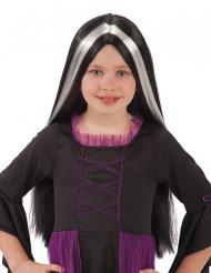 Gothic-Perücke für Kinder Halloween-Accessoire schwarz-weiss