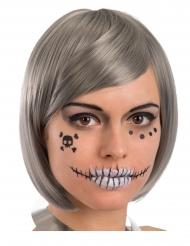 Skelett-Tattoos Make-up-Zubehör für Halloween 6-teilig schwarz
