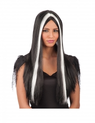 Hexen-Langhaar-Perücke für Damen Halloween-Zubehör schwarz-weiss