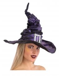 Extravaganter Hexenhut mit Falten und Schnalle schwarz-lila