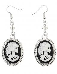 Kamee-Ohrringe mit Skelettkopf Halloween-Accessoire silber-schwarz-weiss