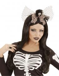 Skelett-Kopfschmuck für Halloween Kostüm-Accessoire schwarz-weiss