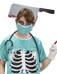 Hackbeil im Kopf blutverschmiertes Accessoire für Halloween grau-schwarz-rot