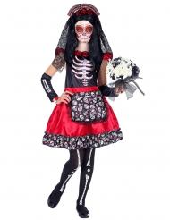 Tag der Toten-Kostüm für Mädchen Halloween-Kostüm rot-schwarz