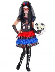 Tag der Toten-Kostüm für Mädchen Halloween-Verkleidung bunt