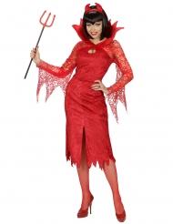 Dämon Teufel-Kostüm für Damen Halloween rot
