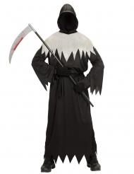 Schauriges Sensenmann-Kostüm für Herren Halloween schwarz-weiss