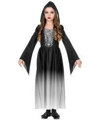 Vampir-Spinnen-Kostüm für Mädchen Halloween-Verkleidung schwarz-weiss