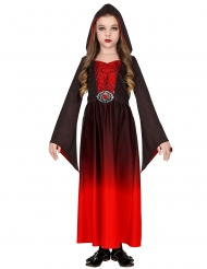 Mystische Spinnen-Vampirin Mädchenkostüm für Halloween schwarz-rot