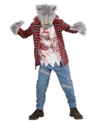 Werwolf-Kostüm mit Kunstfell Halloween-Kinderkostüm rot-grau