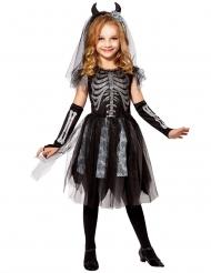 Düsteres Skelett-Brautkostüm für Mädchen Halloween schwarz