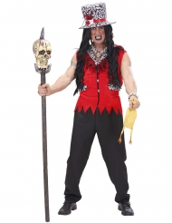 Voodoo-Priester Herrenkostüm Halloween-Verkleidung rot-schwarz
