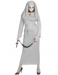 Gespenstisches Nonnen-Kostüm für Damen Geister-Nonne grau