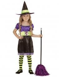 Hübsches Hexen-Kostüm für Mädchen Halloween-Verkleidung schwarz-violett