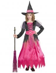 Bezaubernde Hexe Mädchenkostüm für Halloween schwarz-pink