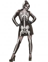 Hübsche Skelett-Dame Halloween-Kostüm schwarz-weiss