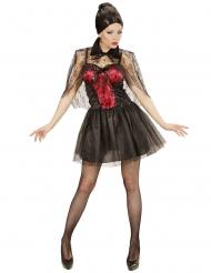 Elegante Vampirin Halloween-Kostüm für Damen schwarz-rot
