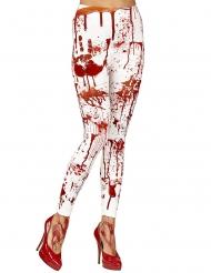 Blutüberströmte Leggings Damen-Accessoire für Halloween weiss-rot