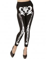 Skelett-Leggings Damen-Accessoire für Halloween schwarz-weiss