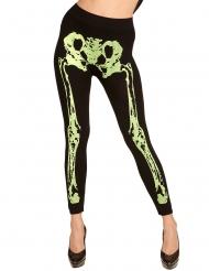 Schaurige Skelett-Leggings für Damen Halloween-Zubehör neon schwarz-gelb