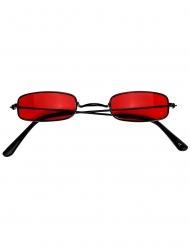 Rechteckige Vampir-Brille Kostüm-Accessoire schwarz-rot