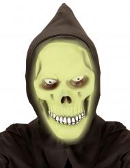 Phosphoreszierende Totenkopf-Maske mit Kapuze für Erwachsene