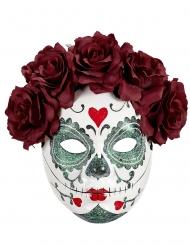 Tag der Toten-Maske mit Rosen Vollgesichtsmaske für Damen bunt